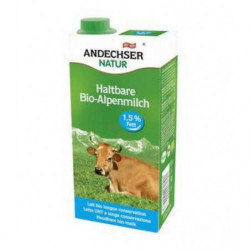 Leche de Vaca Ecológica Semidesnatada UHT 1,5% Grasa Andechser